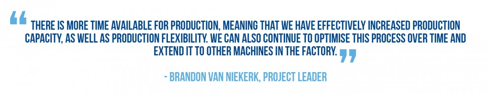 Brandon van Niekerk, Project Leader, discussed SMED improvements to reduce changeover time